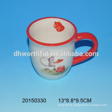 High quality ceramic coffee mugs with monkey decal printing