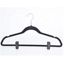 Customize thin plastic black velvet skirt hanger with clips