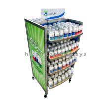 Libere el precio de fábrica del diseño 4-Caster Floor Almacén de la farmacia Estantes de madera Estante del estante del supermercado del metal