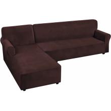 Housse de canapé sectionnelle en velours extensible en forme de L