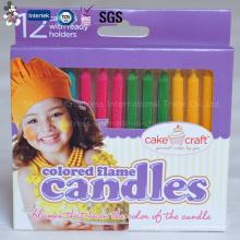 Vela inmejorable del cumpleaños de la llama del color para la decoración de la torta