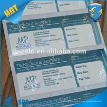 Impressão em alta qualidade impressão etiqueta farmacêutica etiqueta de embalagem etiqueta etiqueta de garrafa de vinho
