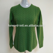 cable knit cashmere wool sweater for middle age women