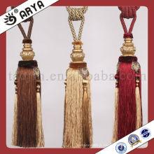 Cravate en gomme à la vente chaude pour décor rideau, fabricant de glands, cravate cordon