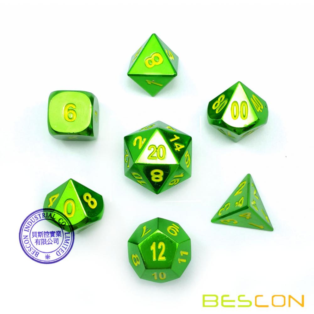 Bescon Heavy Duty Solid Metal Dice Set Glossy Green, Solid Metallic Polyhedral D&D RPG 7-Dice Set