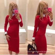 Red Long Sleeve Slim Tight Ladies Office Dress