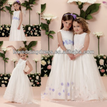 HF2011 Fashion Feather Jewel Neck Crystal Beaded sem mangas branco Floor-Length Sweep Train Tulle Gril Party Dress Girl Dresses