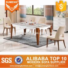 дешевые твердой древесины мебели Дубая мраморный верхний обеденный стол наборы