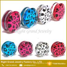 UV Acrylic Clear Leopard Logo Epoxy Ear Gagues Saddle Body Jewelry Ear Plug