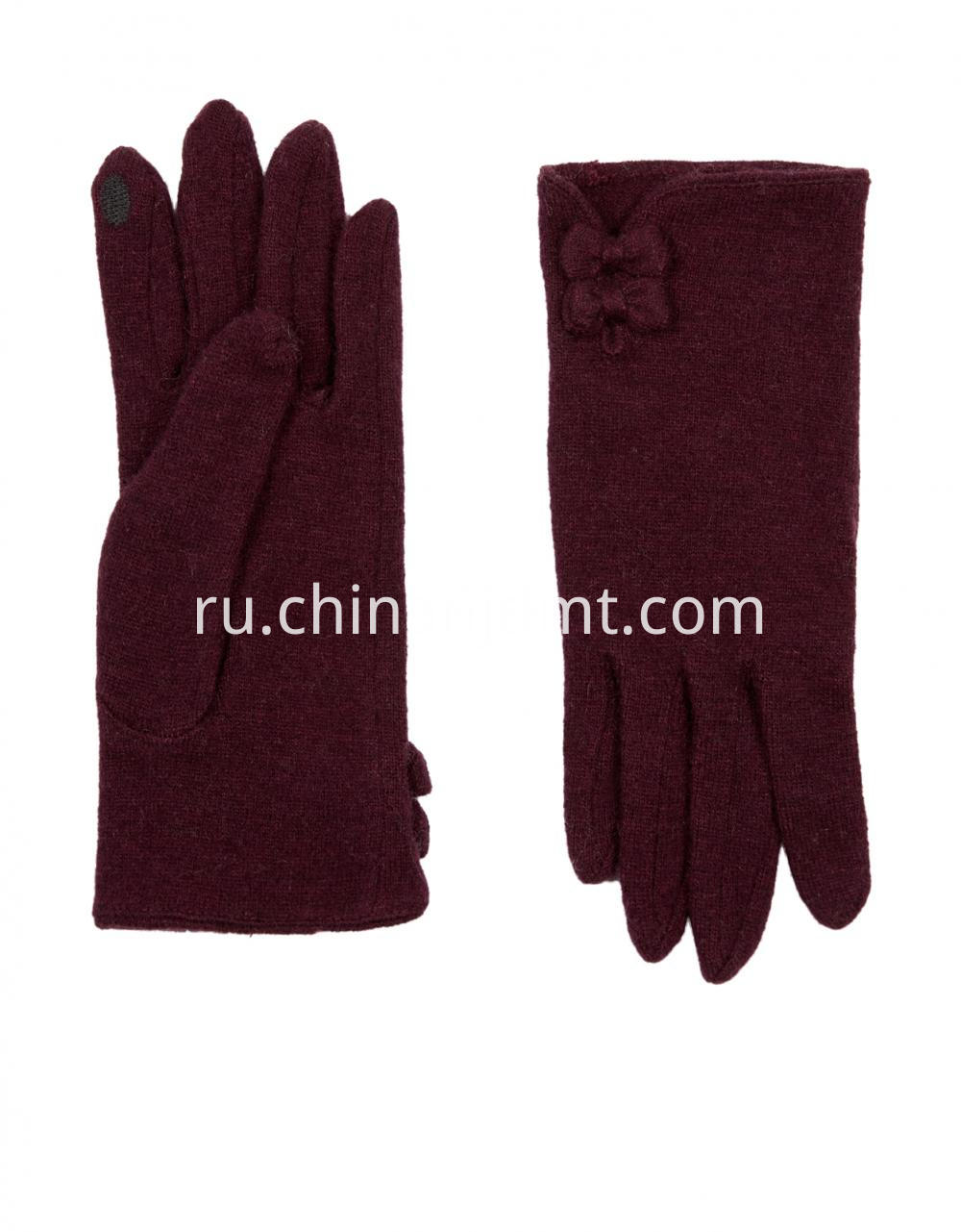Wool Smart Glove With Bows Gloves 04