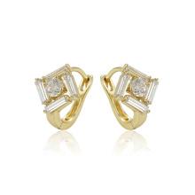97379 xuping dernière mode design délicat boucles d'oreilles créoles femmes zircon synthétique couleur or 14k