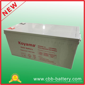 Alta calidad 200ah 12V Deey Cycle Gel inversor batería Nps200-12
