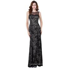 Starzz sin mangas de alta-Split Negro Lace vestido de noche largo ST000168-1