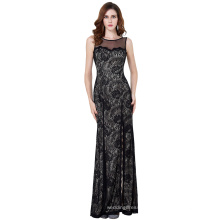 Starzz Sleeveless High-Split Black Lace Evening Dress Long ST000168-1