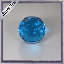 Belles rondes à facettes rondes en verre rond en verre bleu