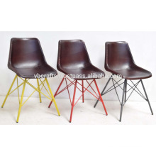 Industrial Leather Chair Multi Color Pyramid Iron Base