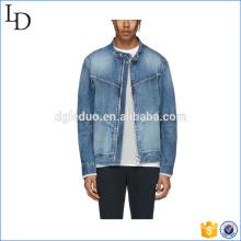 Manga longa 13 oz inverno homem jaqueta jeans planície jaqueta jeans