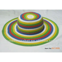 Lady's floppy straw beach hat with strip pattern fancy ladies summer paper straw factory supply