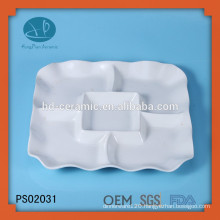 Ceramic Material and Porcelain Ceramic Type 5 compartment dinner plates,square dinner plate