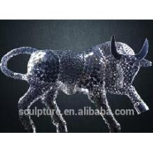2016 New Fine Art aço inoxidável escultura oco gado