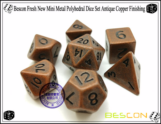 Bescon Fresh New Mini Metal Polyhedral Dice Set Antique Copper Finishing-5