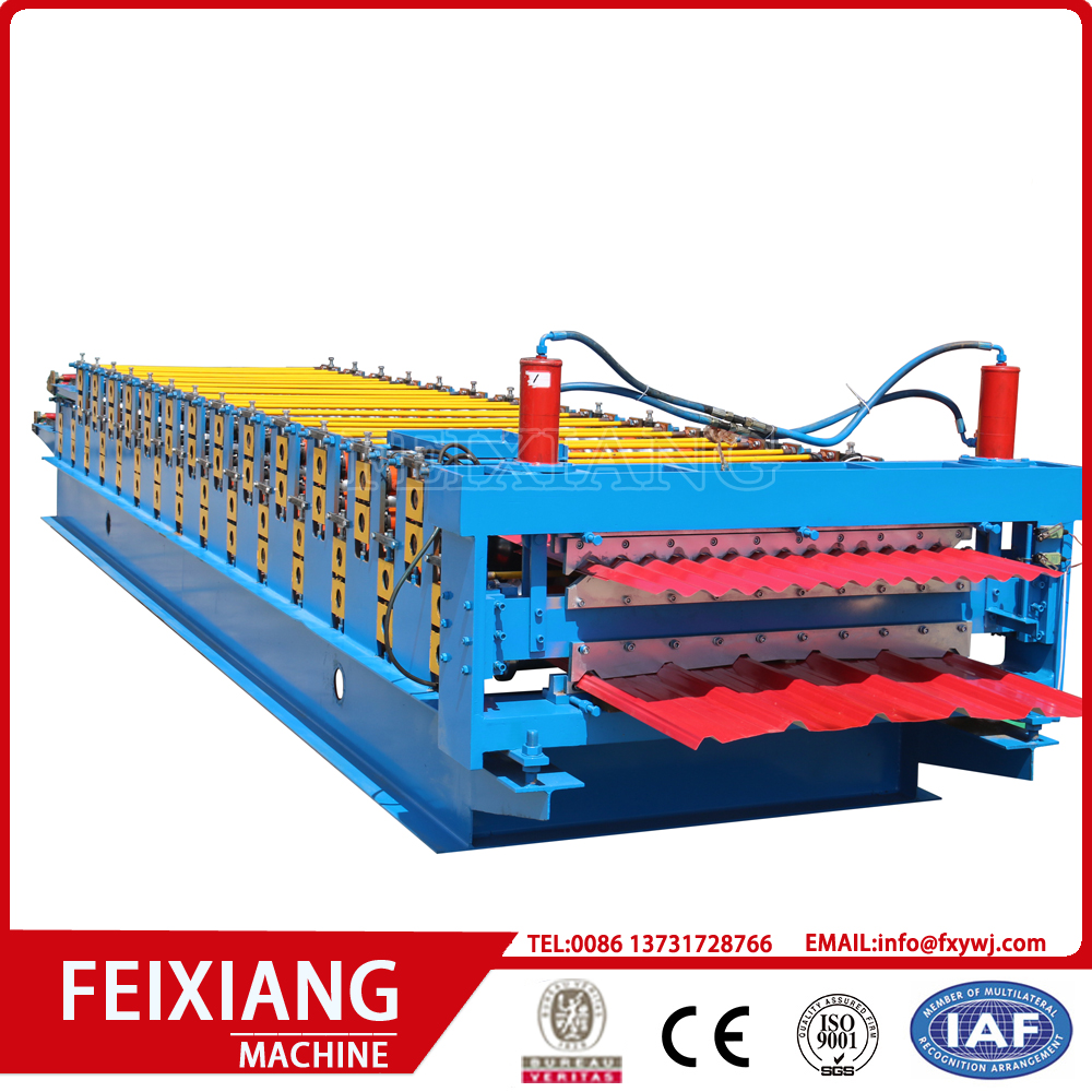 Double layer warna Baja lembaran mesin roll forming