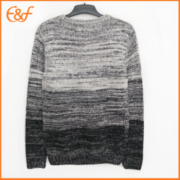 Gradient Color Cotton Pullover Moda Hombre Suéter