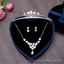 Hochzeits-Ohrring-Halskette Zircon-Tiaras