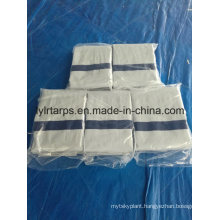 High Quality PE Tarpaulin Sheet, Finished White Tarpaulin Truck Cover with Strengthing Blue Bands, Tarpaulin