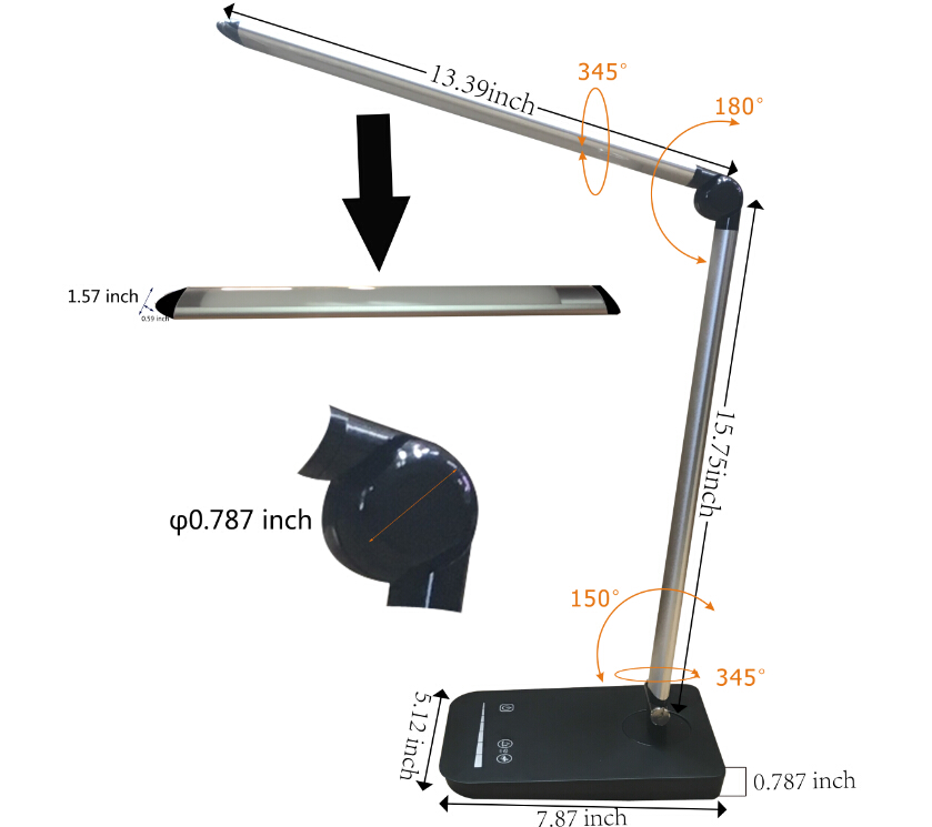 Folding touch LED table lamp