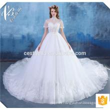 Robe de Mariage 2016 perlas de lujo con cuentas de encaje marfil atractivo vestido de bola vestidos de novia con cola larga