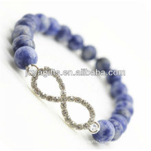 Semi Precious Stone Sodalite With 8 Shape Diamante Alloy Bracelet