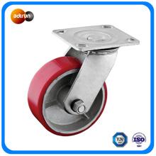 Swivel Plate PU on Cast Iron Caster