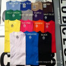 Wholesale Custom Men′s Plain Black/White/Red/Yellow V-Neck T Shirt