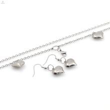 Nouveau design en acier inoxydable collier coeur boucle d'oreille ensemble de bijoux