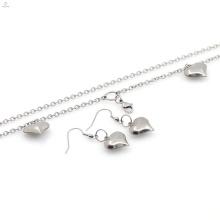 Novo design de aço inoxidável colar coração brinco conjunto de jóias