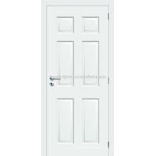 6 panel blanco pintado Prehung moldeada puerta