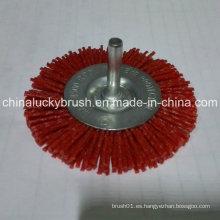 """4 """"Nylon rojo de material abrasivo cepillo de rueda con eje (YY-466)"""