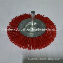 "4"" Red Nylon Abrasive Material Wheel Brush with Shaft (YY-466)"