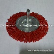"4 ""Red Nylon escova de roda de material abrasivo com eixo (YY-466)"