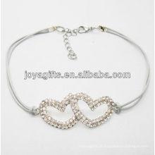 Bracelete de arame branco diamante duplo coração liga
