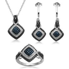 Conjunto de jóias de diamantes em preto e branco 925 Sterling Silver