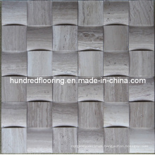 3D Mosaic Tile, Grey Wood Wein Marble Mosaic (HSM105)