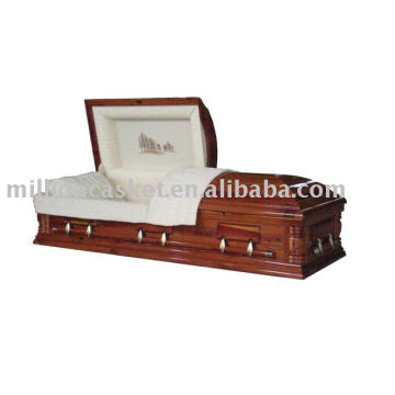 Cedar veneer casket with embroidery