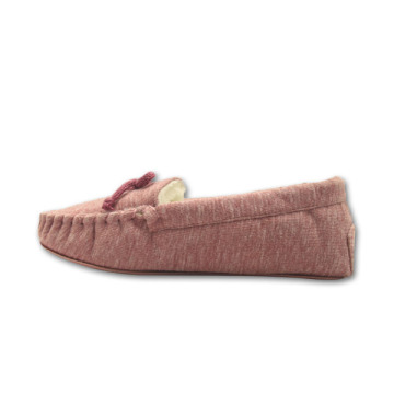 high quality soft pink jersey upper moccasin slippers