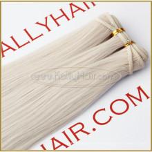 """18 """"gerade # 60 Ash Blond Menschliches Haar Schuss rohes unverarbeitetes reines indisches Haar Weben"""