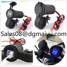Cargador a prueba de agua dual del coche del USB de la motocicleta con el soporte