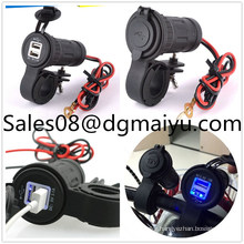 Waterproof Motorcycle Dual USB Car Charger with Bracket