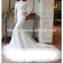 Vestido atractivo de la boda del cordón de la cola de pez del tamaño de la sirena atractiva del verano 2016 a través