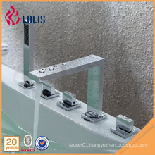 Modern triple handle 5 hole bathtub faucet with handheld shower